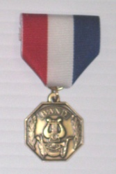 Band Medal Goldtone Attached RWB Pin Drape