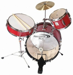 Percussion Plus Junior 3 Piece Drum Set with Cymbal - Red