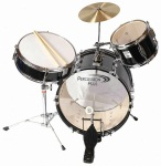 Percussion Plus Junior 3 Piece Drum Set with Cymbal - Black