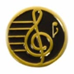 "3/4"" Gold Plated Treble Clef Award Pin - Elegant Black"