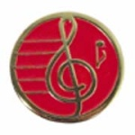 "3/4"" Gold Plated Treble Clef Award Pin - Vibrant Red"
