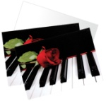Rose and Piano Note Cards