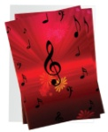Treble Clef and Flowers Note Cards