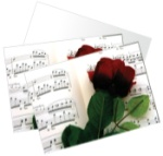 Rose and Sheet Music Note Cards