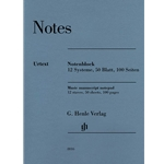 Notes Music Manuscript Notepad - 12 Staves, 50 Sheets