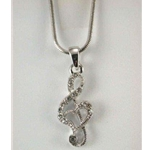 Heart Clef Rhinestone Necklace