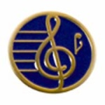 "3/4"" Gold Plated Treble Clef Award Pin - Deep Blue"