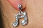 Crystal 16th Note Earrings