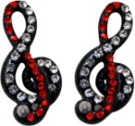 Black & Red G Clef Earrings