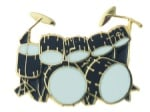 Drum Set Pin - Double Bass Black