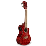 Lanikai QM-RDCEC Quilted Maple Red Cutaway Electric Concert Ukulele W/case