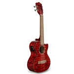 Lanikai QM-RDCET Quilted Maple Red Stain Concert A/E Ukulele w/foam case