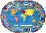 Hands Around the World Classroom Rug - 5 Ft. 4 In. x 7 Ft. 8 In. Oval