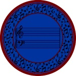 Fully Staffed Classroom Music Rug - 13 Ft 2 In Round Blue