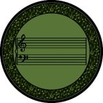 Fully Staffed Classroom Music Rug - 5 Ft 4 In Round Sage