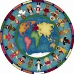 Hands Around the World Classroom Rug - 7 Ft 7 In Round