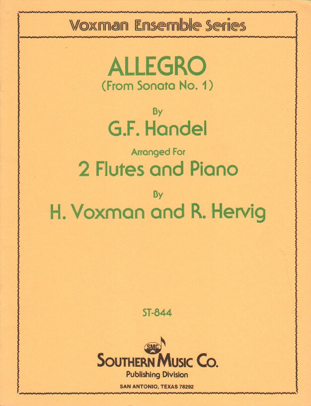 Allegro from Sonata No 1 - Flute Duet and Piano