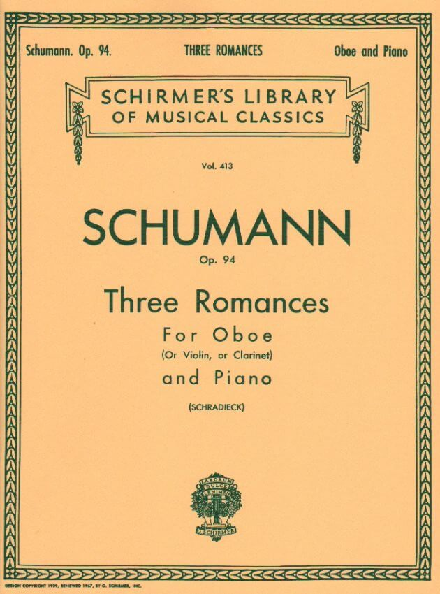 3 Romances Op. 94 - Oboe (or Violin or Clarinet in A) and Piano