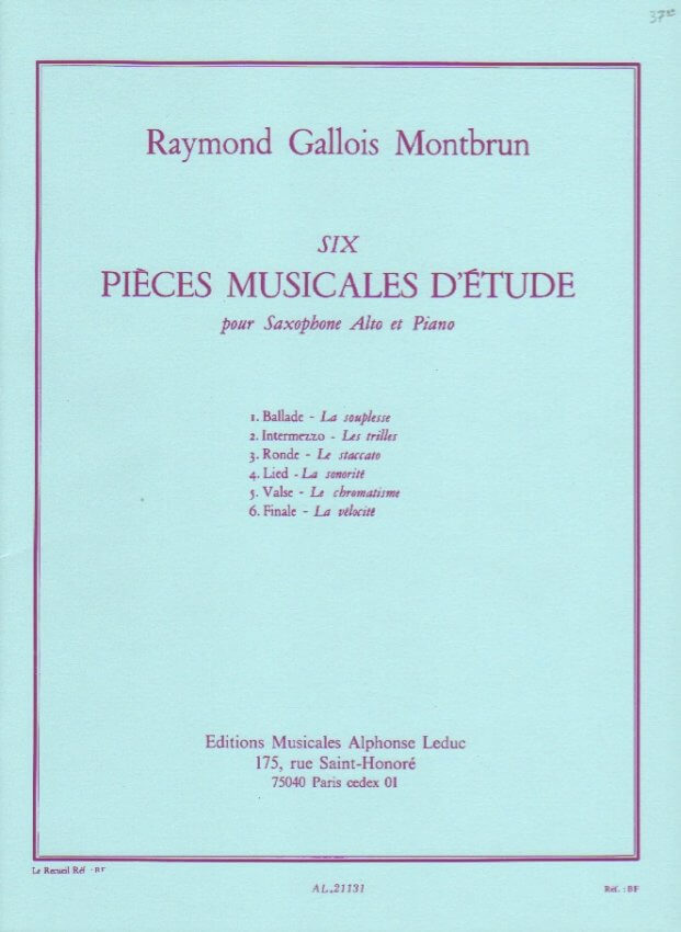 6 Pieces Musicales d'Etude - Alto Sax and Piano