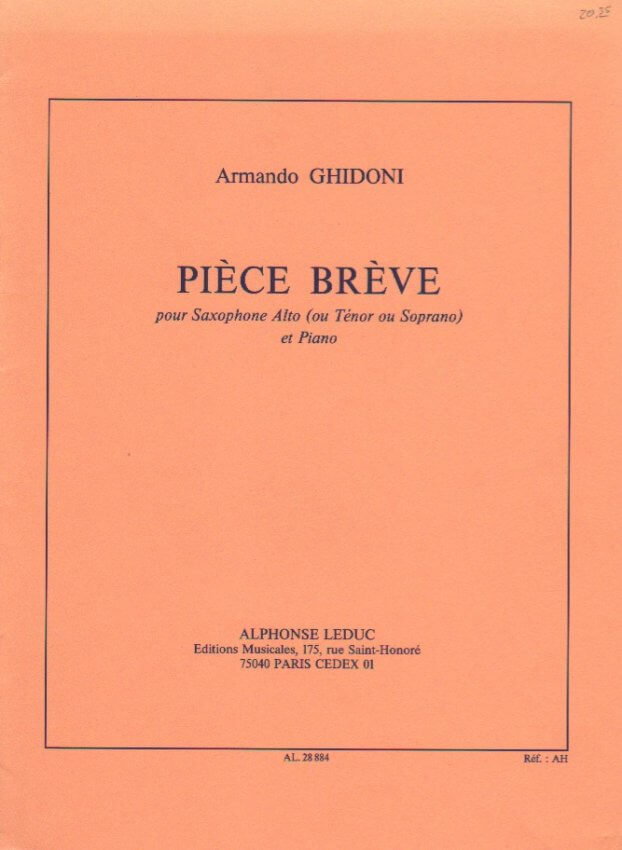 Piece Breve - Alto (or Soprano or Tenor) Sax and Piano