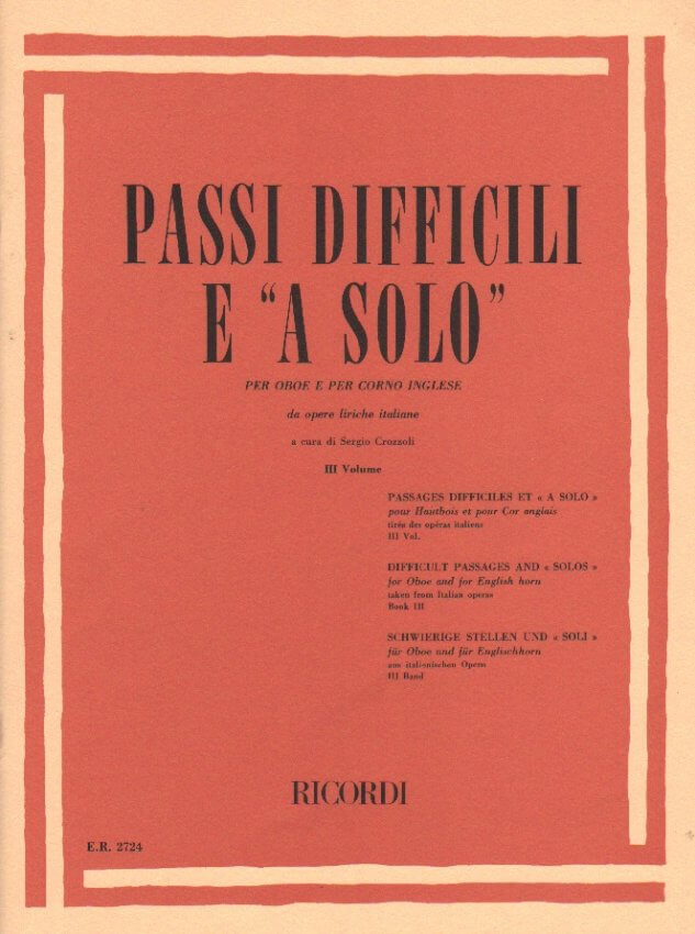 Difficult Passages and Solos from Italian Opera, Vol. 3 - Oboe and English Horn