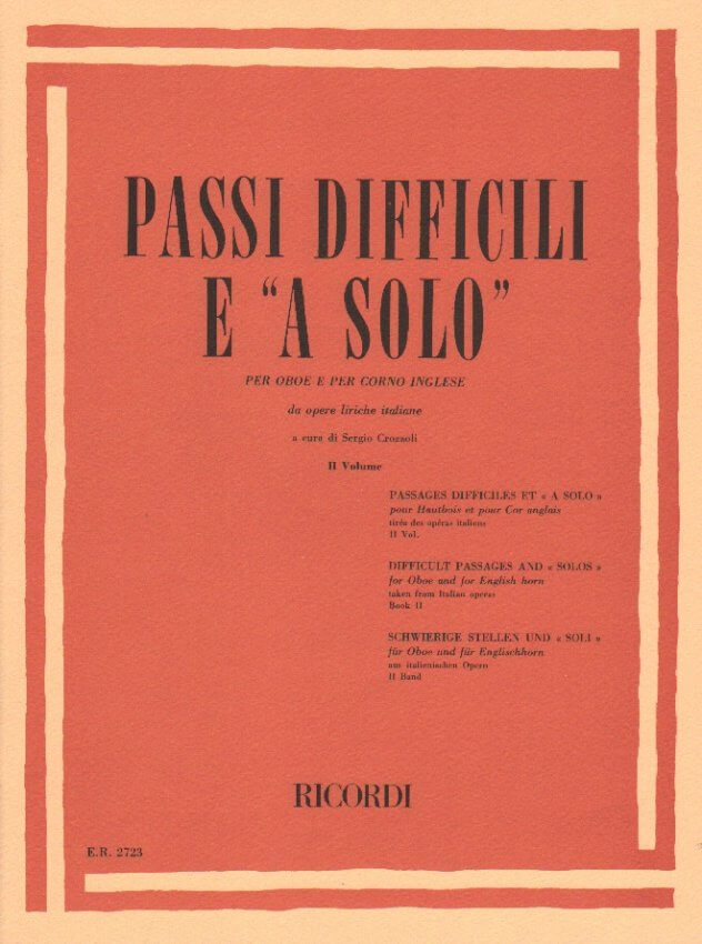Difficult Passages and Solos from Italian Opera, Vol. 2 - Oboe and English Horn
