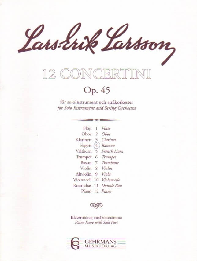Concertino Op. 45 No. 4 - Bassoon and Piano