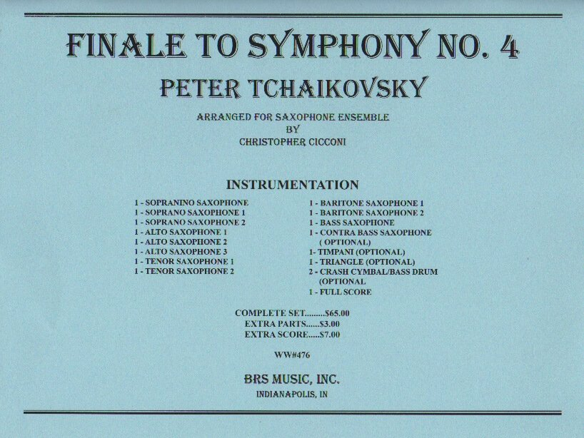 Finale from Symphony No. 4 - Sax Ensemble