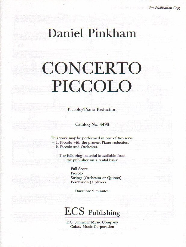 Concerto Piccolo - Piccolo and Piano
