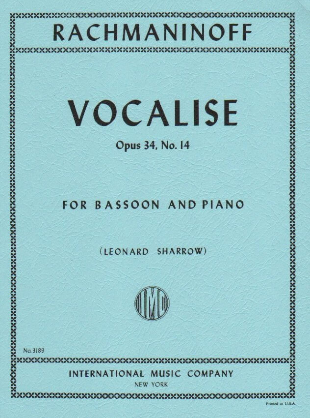 Vocalise, Op. 34, No. 14 - Bassoon and Piano