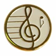 "3/4"" Gold Plated Treble Clef Award Pin - Classic White"